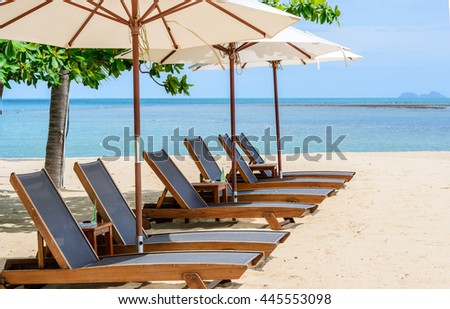 Beach chairs on the beach with blue sky,Koh Samui in Thailand