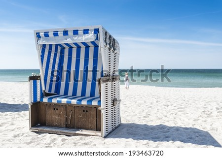 Beach - chairs on the island Sylt.  - stock photo