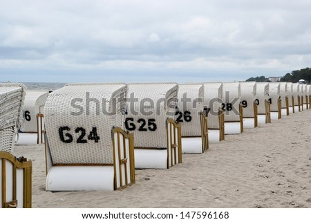 Beach chairs on the Polish Baltic coast - stock photo