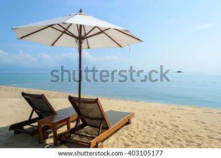 Beach chairs on the white sand beach,Koh Samui in Thailand