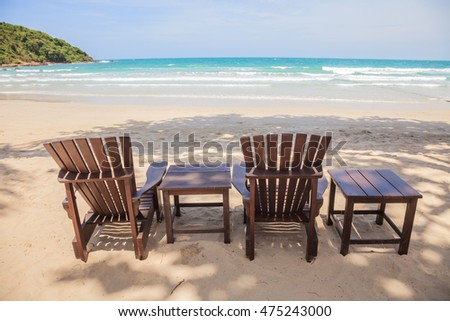 beach chairs on white sand beach ,tropical beach  landscape,Thailand