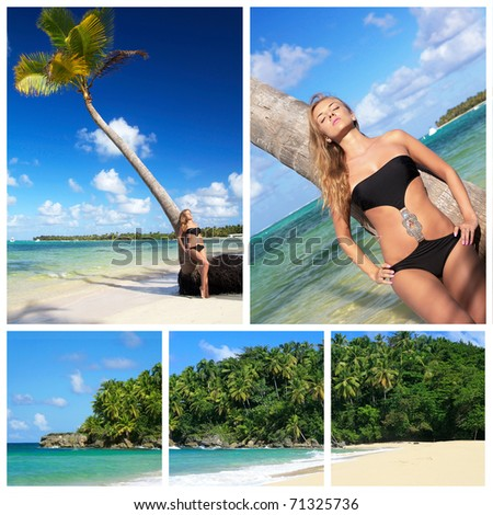 Beach collage with sexy woman near palm