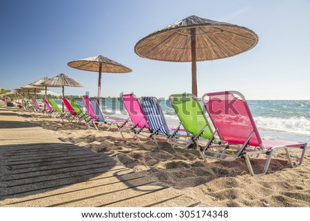 beach colors - holidays background - Preveza beach, Greece - stock photo