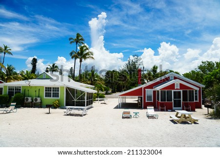 Beach Cottages at Captiva in the Summer - stock photo