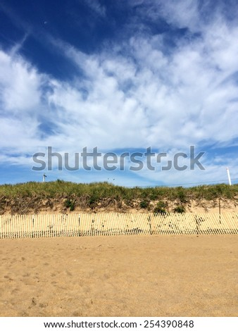 Beach dunes and fence - stock photo