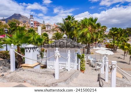 Beach El Duque in Costa Adeje holiday town, Tenerife island, Spain - stock photo