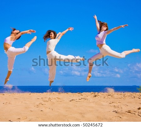 Beach exercising - stock photo
