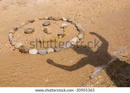 beach face made of stones - stock photo