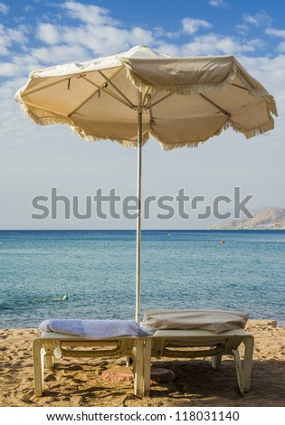 Beach facilities for vacation, Red Sea, Eilat, Israel - stock photo