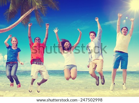 Beach Friendship Summer Happiness Relaxation Concept - stock photo