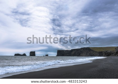 Beach from black stones in Iceland
