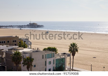 Beach front property with scenic view of the Pacific Ocean in Santa Monica California USA - stock photo