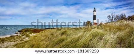 Beach Grass At Big Sable Point Lighthouse Along Lake Michigan, Ludington State Park, Lower Peninsula, Michigan, USA - stock photo