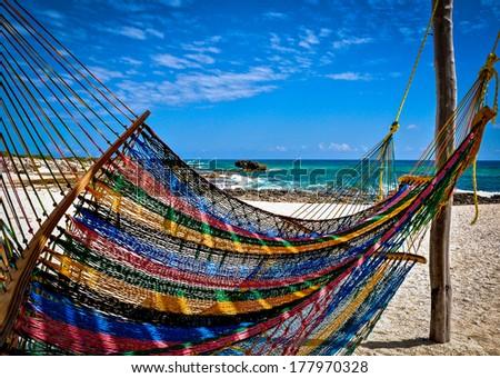 Beach Hammock - beach hammock shot at Cozumel beach - stock photo