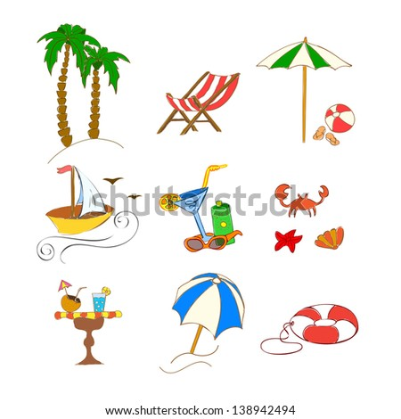 beach hand drawn icons on white. Raster copy of vector illustration
