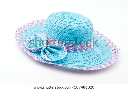 Beach hat isolated white background - stock photo