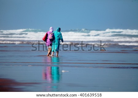 Beach holiday in Morocco - stock photo
