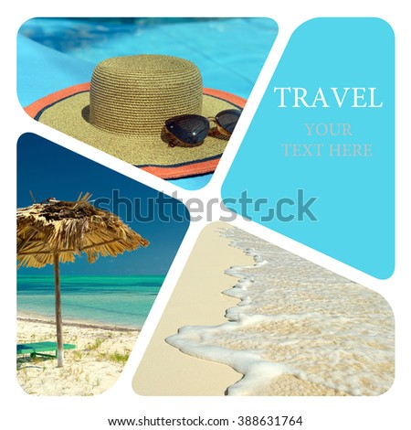 Beach holidays at a resort. Travel collage. Luxury spa resort. Wave of the sea on the sand beach. - stock photo