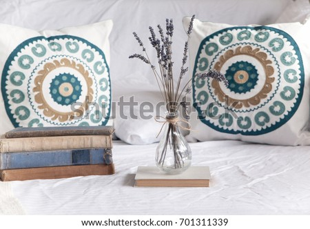 Beach Home Decor Boho Cushions Vase Stock Photo 701311339