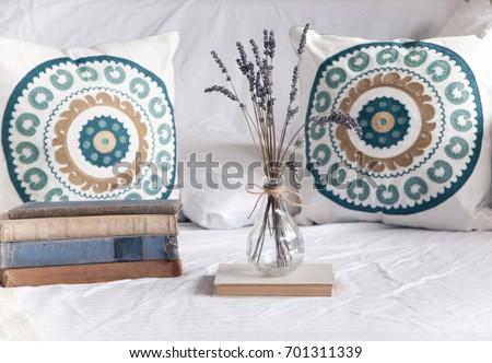 Beach Home Decor Boho Cushions Vase Stock Photo 701311339