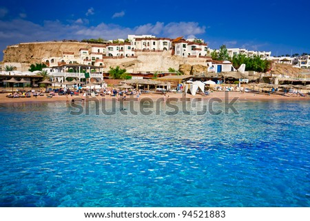 Beach, hotels and apartments in Egypt - stock photo