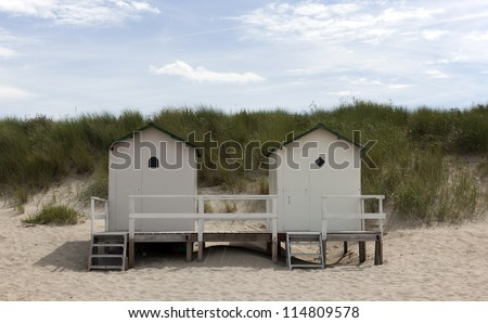 beach house on a dutch beach - stock photo