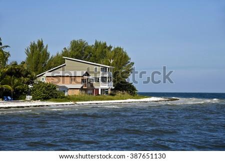 Beach House on the Florida Gulf Coast  - stock photo