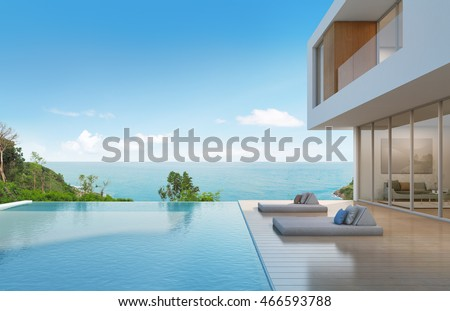 Beach House Pool Modern Design 3d Stock Illustration 466593788