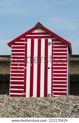 Beach Hut at Seaton, Devon, UK - stock photo
