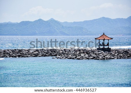 Beach Hut on the Candidasa Bali , summer day, nature travel background
