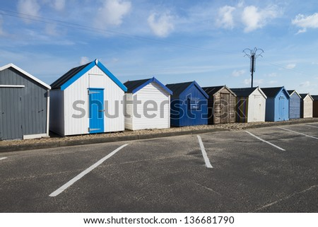 Beach Huts at Felixstowe, Suffolk, Essex, UK.