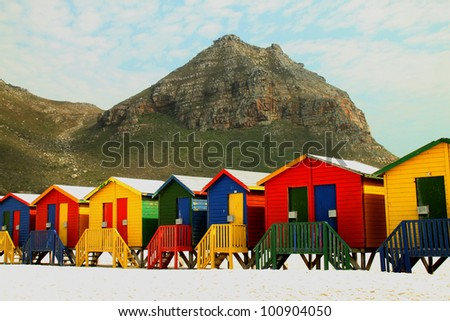 Beach huts at Muizenberg near Cape Town South Africa. - stock photo