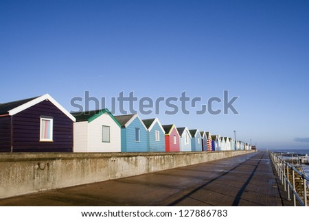 Beach Huts at Southwold, Suffolk , England, viewed along the promenade