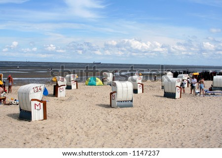 Beach Huts in Cuxhaven - stock photo