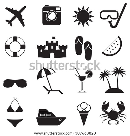 Beach icons and summer signs set on white background. Travel and vacation illustration. - stock photo