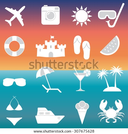 Beach icons and Summer signs set. Travel and vacation symbols. - stock photo