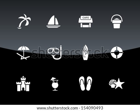 Beach icons on black background. See also vector version.