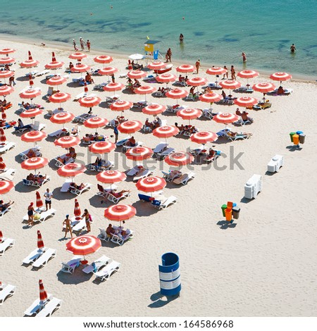 Beach in Albena, Bulgaria - stock photo