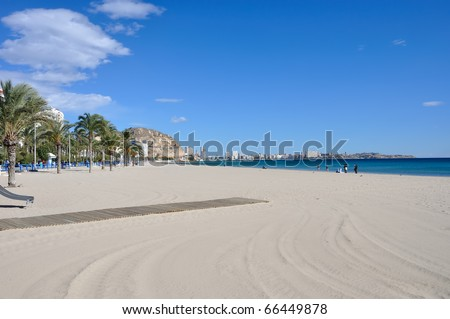Beach in Alicante, Spain in winter. November - stock photo