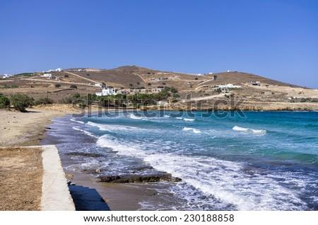 Beach in Antiparos island, Cyclades, Greece - stock photo