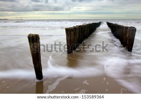 Beach in Belgium. - stock photo