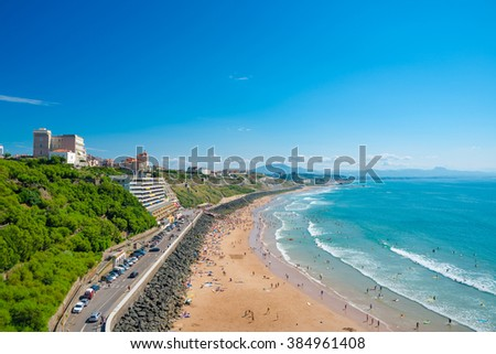 Beach in Biarritz, Pays Basque, France - stock photo