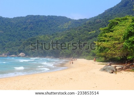 Beach in Brazil - Costa Verde (Green Coast) in Trindade near Paraty. State of Rio de Janeiro. View with Mata Atlantica rainforest hills. - stock photo