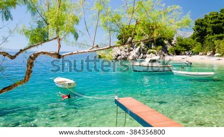beach in Brela on Makarska Riviera, Dalmatia, Croatia - stock photo