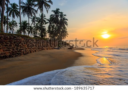 Beach in Cape Coast, Ghana. In the morning