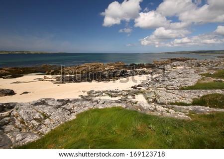 Beach in Connemara in Galway in Ireland Europe - stock photo