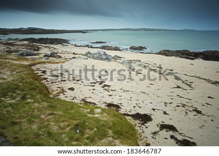 Beach in Connemara on the Wild Atlantic Way coastal route in Galway in Ireland Europe.