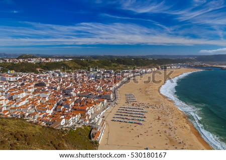 Beach in Nazare - Portugal - travel background