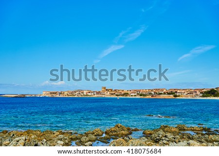Beach in north of Sardinia / Vacation in Italy / Sunbathing on Island