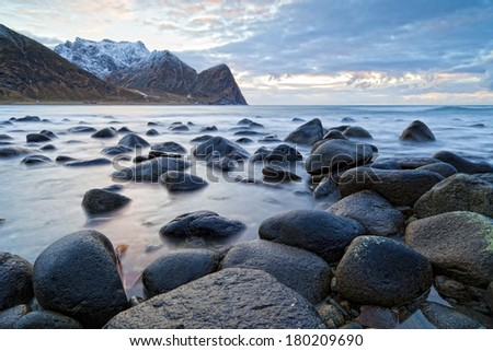 beach in norway - stock photo